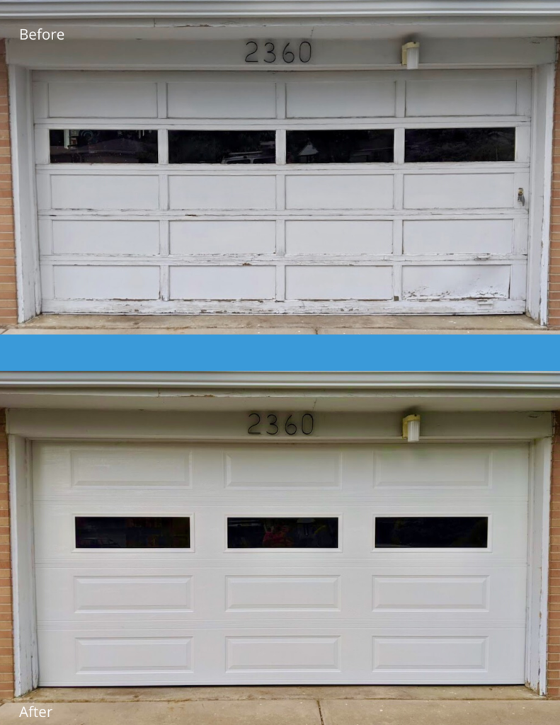 Garage Door repair before and after.