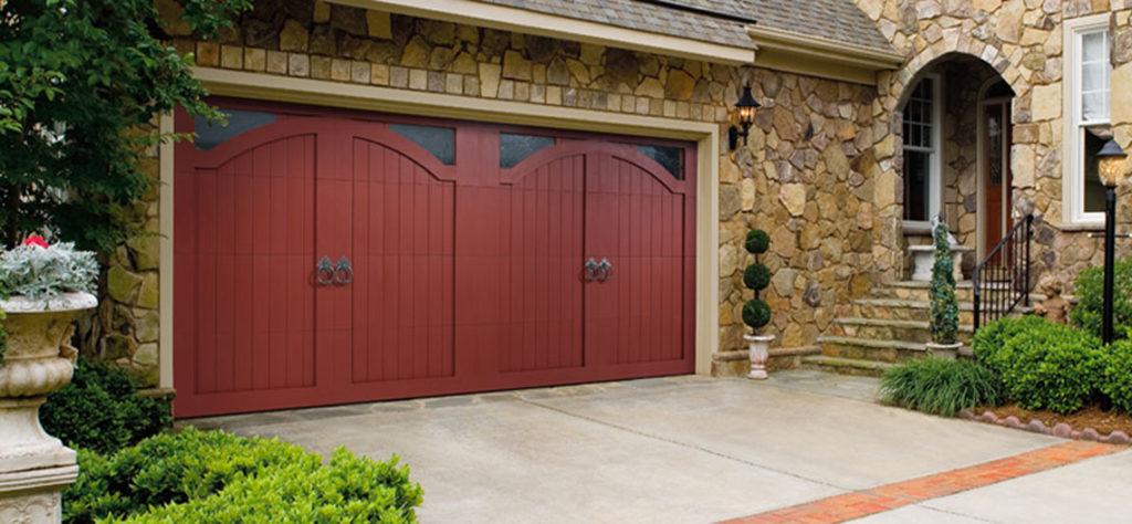 Amarr 2 car garage door in red.